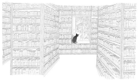 Jean-Jacques Sempé, Le chat dans la grande bibliothèque
